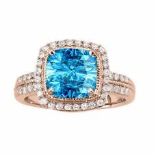 2.60 Ct. Ttw Diamond And Cushion Cut Blue Topaz Ring In 14K Gold