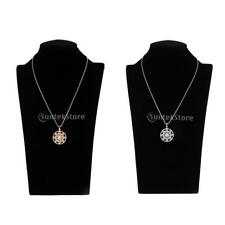 Rhinestones Hollowed Flower Round Disc Pendant Necklace Long Chain Jewelry
