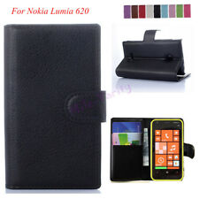 NEW Luxury Litchi PU Leather Flip Case Wallet Cover For Nokia Lumia 620