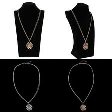 Crystal Rhinestone Flower Pendent Double Chain Necklace Women Men Jewelry