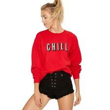 Solid Red Brief Letters Print Loose Sweatshirt Long Sleeve Crew Neck Pullover