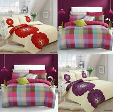 New Bless And Harley Floral Check Duvet Quilt Cover With Pillowcase Bedding Set