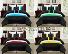 "5PC/7PC 14""D.Pkt Striped Design Satin Duvet Cover Set In Many Colors/Sizes"