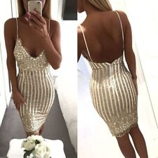 2017 Summer Woman Sexy sequin Striped Bodycon dress Strap Backless Sleeveless...