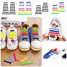 Easy No Tie Elastic Silicone Shoe Laces For Adults Kids Trainers Boosts Shoes GA