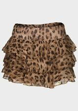 Ladies Womens Brown Animal Leopard Print Short Mini Rara Sun Skirt Size 6-10 NEW