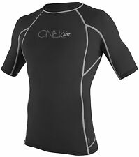 ONeill Wetsuits Basic Skins Short Sleeve Crew Black with Gray Sripes