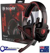 SADES SA-708 Stereo PC Gaming Headset Headphones Noise Cancel Mic RED BLUE GREY