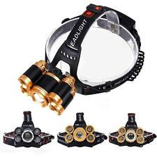 Zoomable CREE 5X LED 80000 Lumens USB Headlamp 4 Modes 2X18650 Battery Lamp 0ウ