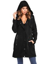 Soteer Womens Hooded Long Coat Jacket Casual Trench Knee Length Lightweight