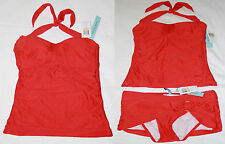Antonio Melani Womens $140 NWT 2 Pc Bikini or Tankini Halter Swim Top, S, M, Red