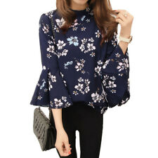 Floral Chiffon Blouse Women Tops Flare Sleeve Shirt Korean Fashion Office Blouse