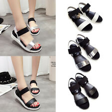 Women Ladies Flat Elastic Casual Sandals Beach Shoes Summer Platform Sandals
