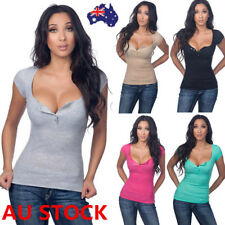 Women Summer V Neck Short Sleeve T-Shirt Tops Ladies Casual Fitted Blouse Tee
