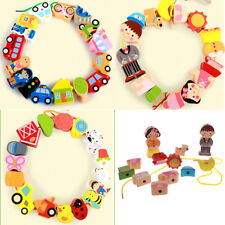 Wooden Cartoon Colorful Beads Threading & Lacing Kids Preschool Educational Toy