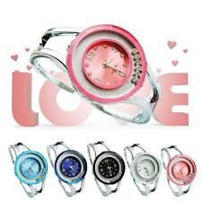 Women Bangle Bracelet Stainless Steel Crystal Dial Quartz Analog Wrist Watch OE