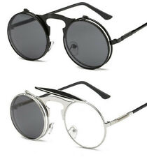 Vintage Retro Lens Sunglasses Steampunk Frame Costume Round Circle Flip Up Clear