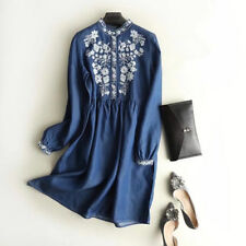 Pattern O Neck Shirt Denim Vintage Dress Summer Woman Elegant Embroidery Blue