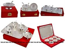 Indian Decorative Brass Handicraft Silver Plated Spoon Bowl Set Gifts Home Decor