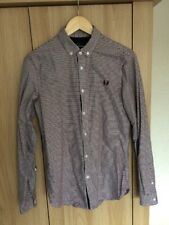 Fred Perry Red And Navy Tipped Gingham Long Sleeve Shirt XS