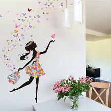 Home Bedroom Wall Sticker Removable PVC Flower Girls Wall Decals Art Stickers N6