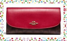 EASTER GIFT NWT COACH Signature Canvas Checkbook Wallet GLD BLACK BROWN TRUE RED