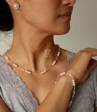 Freshwater Cultured Pearl Necklace and Bracelet set linked with S/Silver Chain.