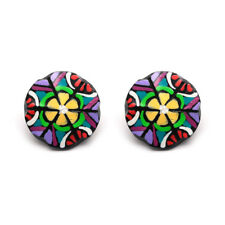 Hand painted yellow flower button coconut shell stud earrings with plastic posts