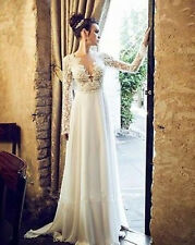 Sexy Backless Lace Long Sleeve V-neck Wedding Dress Bridal Gown Beach Deb All