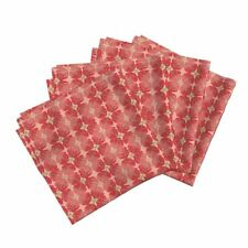 Roses Red Thorn Argyle Woodcut Floral Cotton Dinner Napkins by Roostery Set of 4