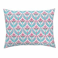 Damask Pink Hot Pink Black White Turquoise Aqua Pillow Sham by Roostery