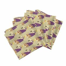 Giraffe African Animal Cartoon Cotton Dinner Napkins by Roostery Set of 4