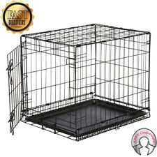 30/24 1 Door Pet Cage Folding Dog w/Divider Cat Crate Cage Kennel w/Tray DC Wire