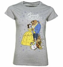 Official Women's Grey Marl Classic Disney Beauty And The Beast T-Shirt