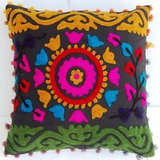 """INDIAN HANDMADE SUZANI CUSHION COVER 16"""" HOME DECOR PILLOW EMBROIDERED VINTAGE02"""