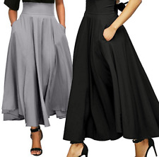Women High Waist Long Skirt Dress Pleated A Line Front Slit Belted Maxi Skirt F