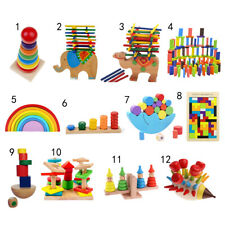 Colorful Montessori Toys Wooden Puzzle/ Blocks Xmas Gift for Kids Boys Girls