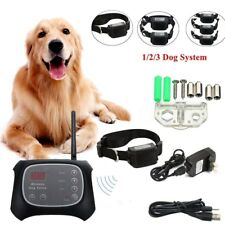 Rechargeble Wireless Electric Dog Fence Containment System Transmitter Collar US