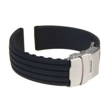 Silicone Rubber Watch Strap Band Deployment Buckle Waterproof 18mm ~ 24mm Black