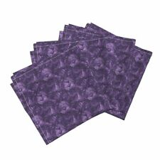 Roses Purple Floral Flowers Cotton Dinner Napkins by Roostery Set of 4