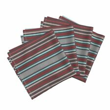 Moire Silk Victorian Stripes Burgundy Cotton Dinner Napkins by Roostery Set of 4