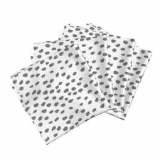 Dots Charcoal White Fabric Linen Les Cotton Dinner Napkins by Roostery Set of 4