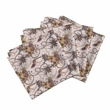Peacock Floral Flowers Silk Painting Cotton Dinner Napkins by Roostery Set of 4