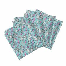 Dinosaur Watercolor Roses Floral Cotton Dinner Napkins by Roostery Set of 4