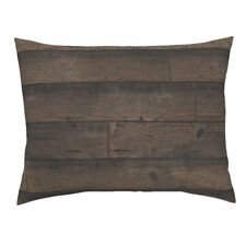 Wood Weathered Reclaimed Stained Antique Planks Pillow Sham by Roostery