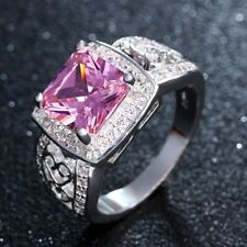 Pink Sapphire White Cz Womens 10kt White Gold Filled Wedding Hollow Ring Sz 6-10