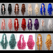 Women Fashion  Anime Long Curly Wavy Hair Party Cosplay Full Wig Various Colors