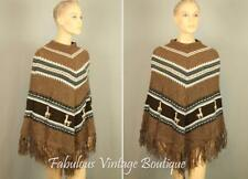 Vtg Brown Peruvian Alpaca Knit Boho Hippie Coat Poncho Jacket Cape Fringed Hem