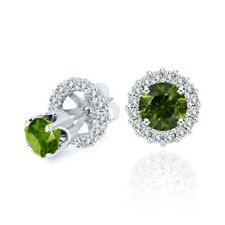 3 Carat Green Diamond Solitaire Stud Pair Earrings Halo Jackets 14K White Gold