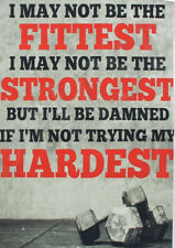Print Art POSTER / CANVAS Bodybuilding Fitness Stronger Hardest Motivational Qu